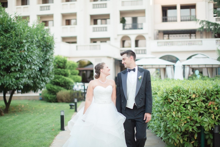 Burgas, Bulgaria bride and groom at the Grand Hotel Primoretz