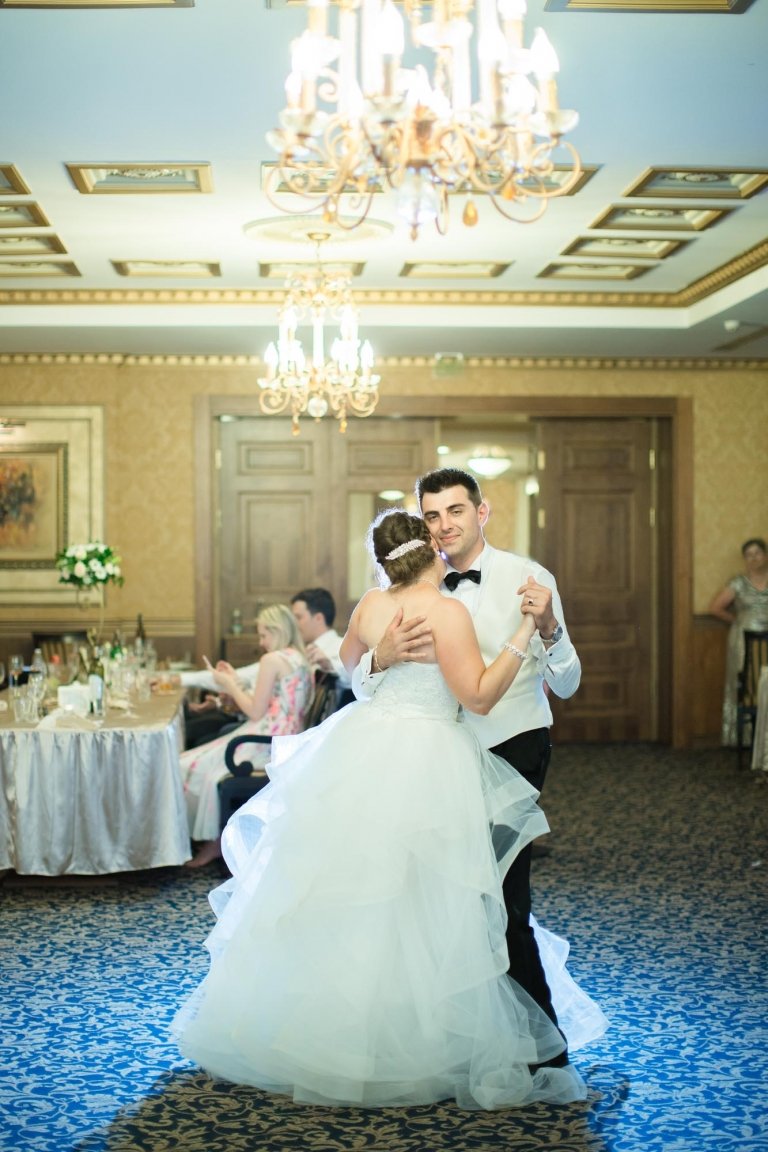 Burgas, Bulgaria bride and groom first dance at the Grand Hotel Primoretz